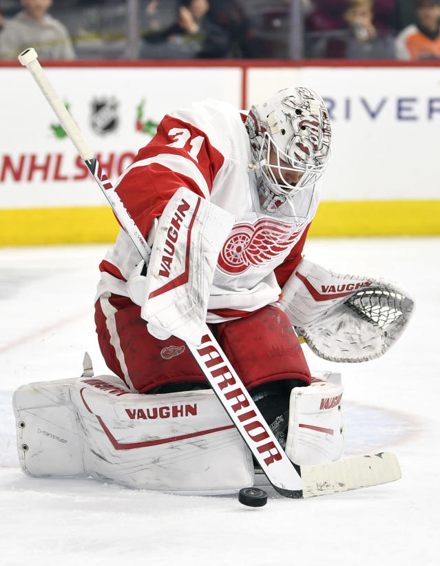 Detroit Red Wings goaltender Calvin Pickard makes a save during the second period against the Philadelphia Flyers of an NHL hockey game, Friday, Nov. 29, 2019, in Philadelphia. (AP Photo/Derik Hamilton)