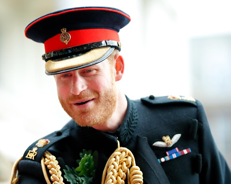 LONDON, UNITED KINGDOM - JUNE 06: (EMBARGOED FOR PUBLICATION IN UK NEWSPAPERS UNTIL 24 HOURS AFTER CREATE DATE AND TIME) Prince Harry, Duke of Sussex attends, as reviewing officer, the annual Founder's Day Parade at the Royal Hospital Chelsea on June 6, 2019 in London, England. Founder's Day celebrates the founding of the Royal Hospital in 1681 by King Charles II. The Royal Hospital is home to over 300 Chelsea Pensioners all of whom are retired soldiers of the British Army. (Photo by Max Mumby/Indigo/Getty Images)