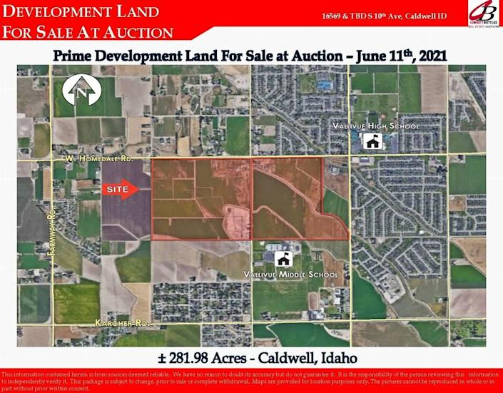 A map provided by the Idaho Department of Lands shows the parcels of land that Meridian developer Corety Barton bought near Vallivue High School and Vallivue Middle School outside Caldwell.