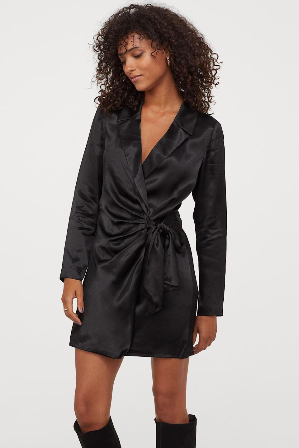 <p>Wear this <span>Satin Jacket Dress</span> ($70) with chunky boots for an edgy outfit, or with mules for a dinner-ready look.</p>