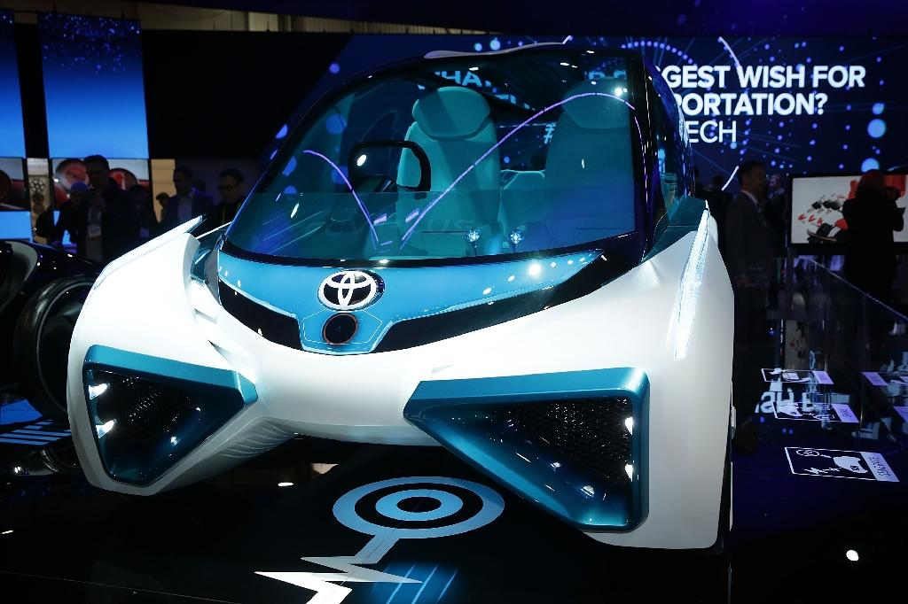 A Toyota hydrogen fuel cell vehicle at the 2016 Consumer Electronics Show in Las Vegas. (AFP Photo/ALEX WONG)