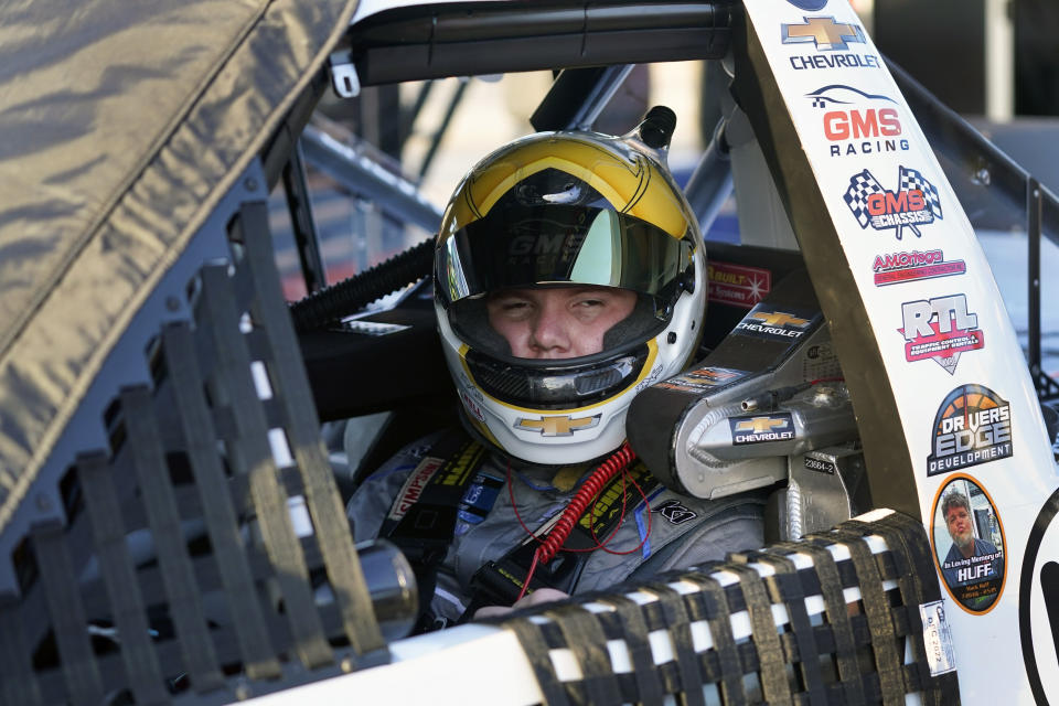 Sheldon Creed gets ready to go out on the speedway during practice for the NASCAR Trucks auto race at Daytona International Speedway, Thursday, Feb. 11, 2021, in Daytona Beach, Fla. (AP Photo/John Raoux)