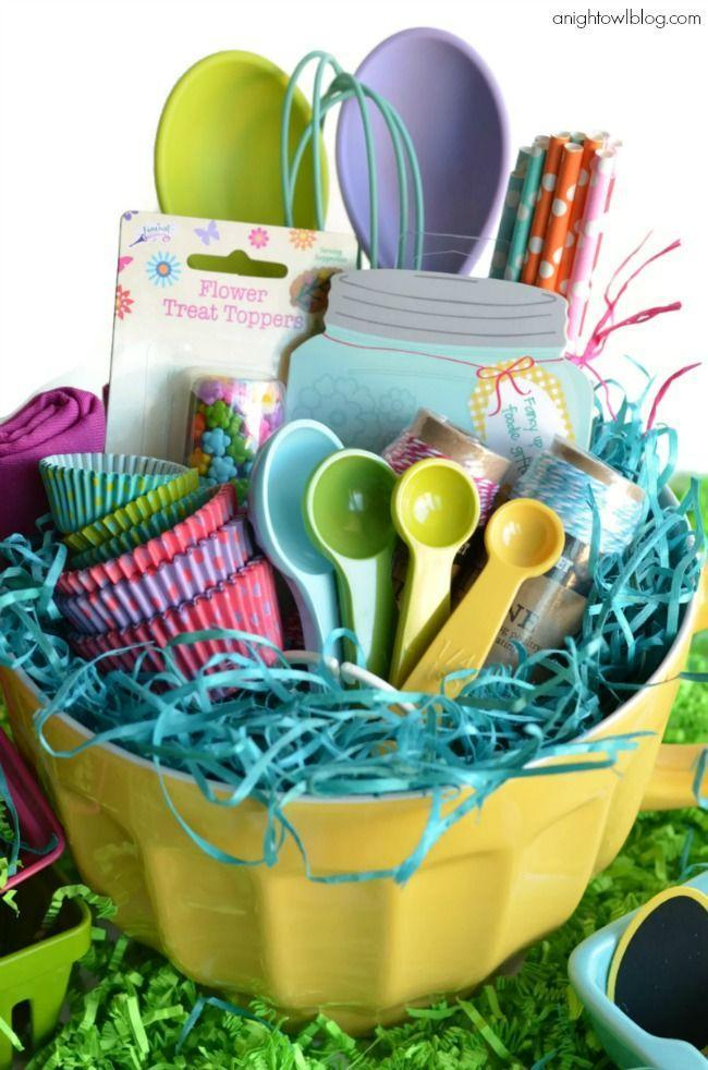 "<p>Give the holiday hostess something a little more useful than a big basket of candy. A curation of baking supplies in a ceramic mixing bowl is a nice gesture that's sure to get plenty of mileage. </p><p>Get the tutorial at <a href=""https://www.anightowlblog.com/easter-basket-ideas-world-market/"" rel=""nofollow noopener"" target=""_blank"" data-ylk=""slk:A Night Owl Blog."" class=""link rapid-noclick-resp"">A Night Owl Blog.</a></p><p><a class=""link rapid-noclick-resp"" href=""https://www.amazon.com/Norpro-Grip-EZ-Mixing-Bowl-4-Quart/dp/B000ANW76C/?tag=syn-yahoo-20&ascsubtag=%5Bartid%7C10072.g.30506642%5Bsrc%7Cyahoo-us"" rel=""nofollow noopener"" target=""_blank"" data-ylk=""slk:SHOP MIXING BOWL"">SHOP MIXING BOWL</a></p>"