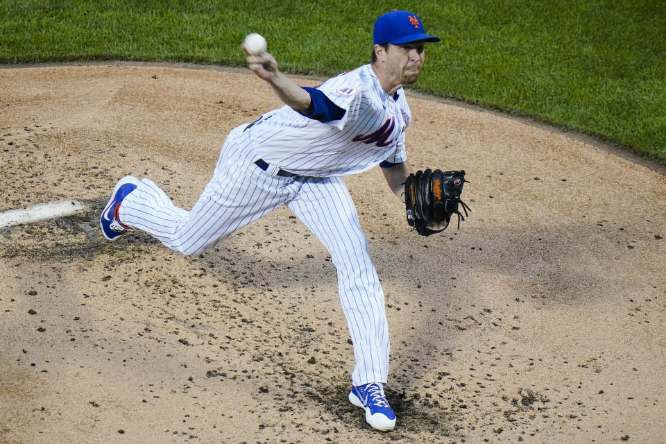 New York Mets' Jacob deGrom delivers a pitch during the third inning of a baseball game against the San Diego Padres, Friday, June 11, 2021, in New York. (AP Photo/Frank Franklin II)