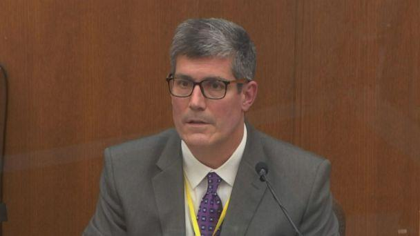 PHOTO: In this image from video, Dr. Andrew Baker testifies at the trial of former Minneapolis police officer Derek Chauvin at the Hennepin County Courthouse in Minneapolis, Minn., April 9, 2021. (Court TV/Pool via ABC News)