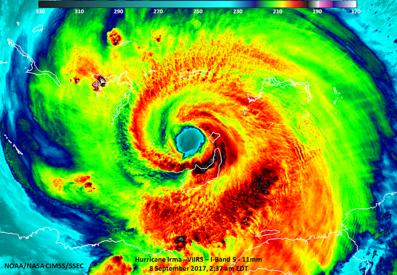 This Suomi NPP satellite infrared image was taken Sept. 9 at 2:39 a.m. EDT (0640 GMT). The well-defined eye of Irma is visible with convection around it, indicating an intense storm system. The strongest thunderstorms have the coldest cloud tops (black), which were as cold as -101 degrees Fahrenheit (-78 degrees Celsius).