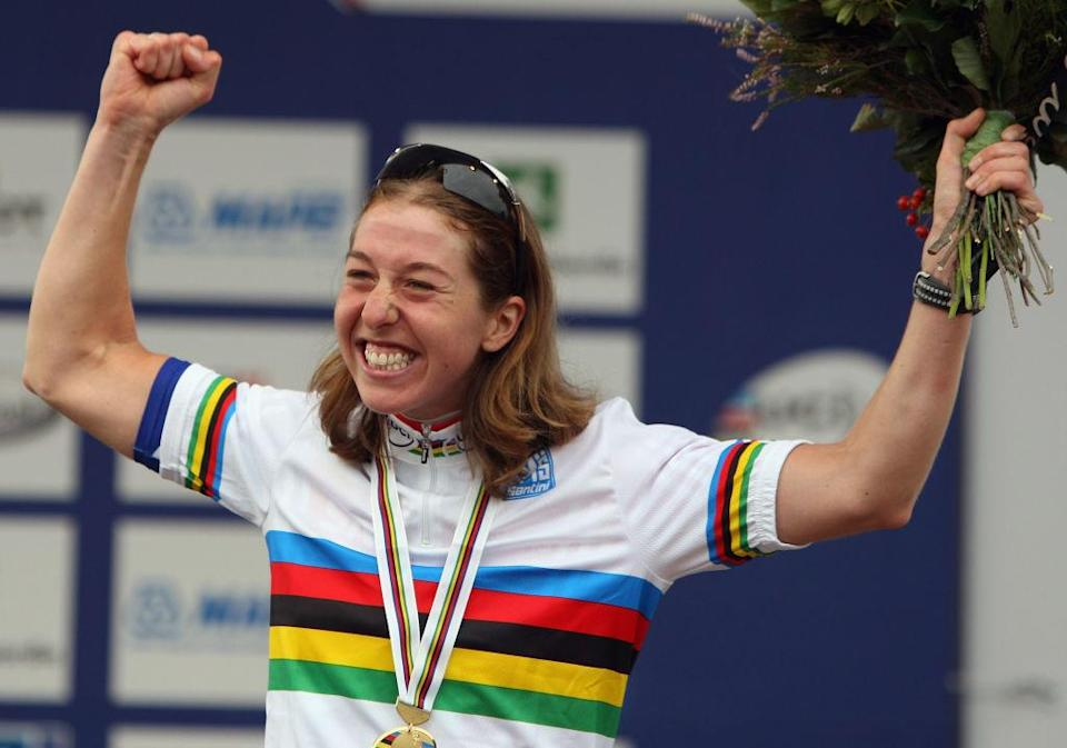 VARESE, ITALY - SEPTEMBER 27:  Nicole Cooke of Great Britain celebrates winning the Elite Women's Road Race during the 2008 UCI Road World Championships on September 27, 2008 in Varese, Italy.  (Photo by Bryn Lennon/Getty Images)