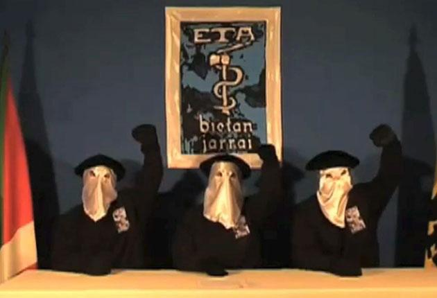 ETA separatists in a 2010 video announcing its intention to seek a political solution: PA
