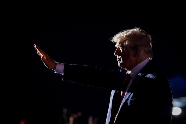 Former U.S. President Donald Trump leaves a rally in Florida on July 3, 2021.