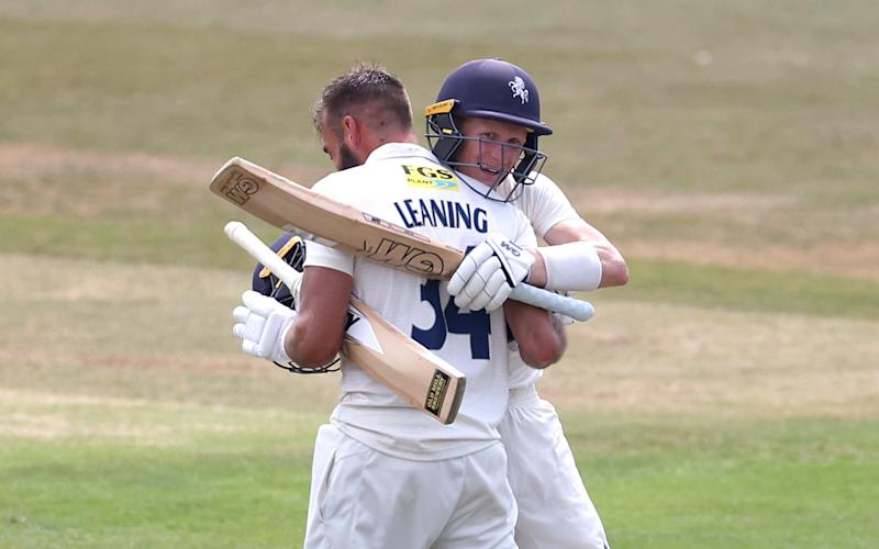 Jack Leaning of Kent celebrates his double century with Jordan Cox of Kent - Getty Images