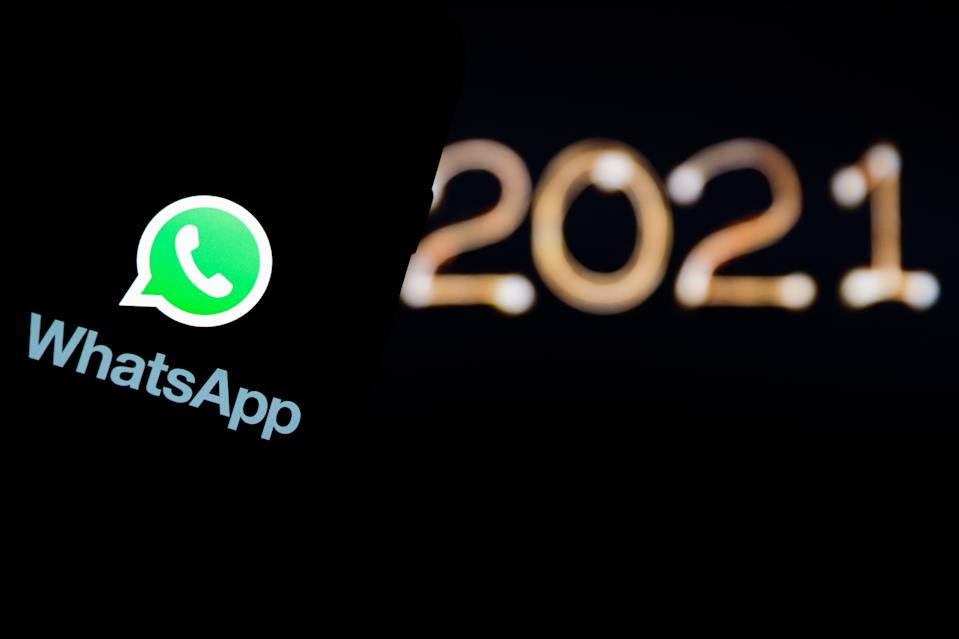 POLAND - 2020/12/30: In this photo illustration a Whatsapp logo seen displayed on a smartphone. (Photo Illustration by Filip Radwanski/SOPA Images/LightRocket via Getty Images)