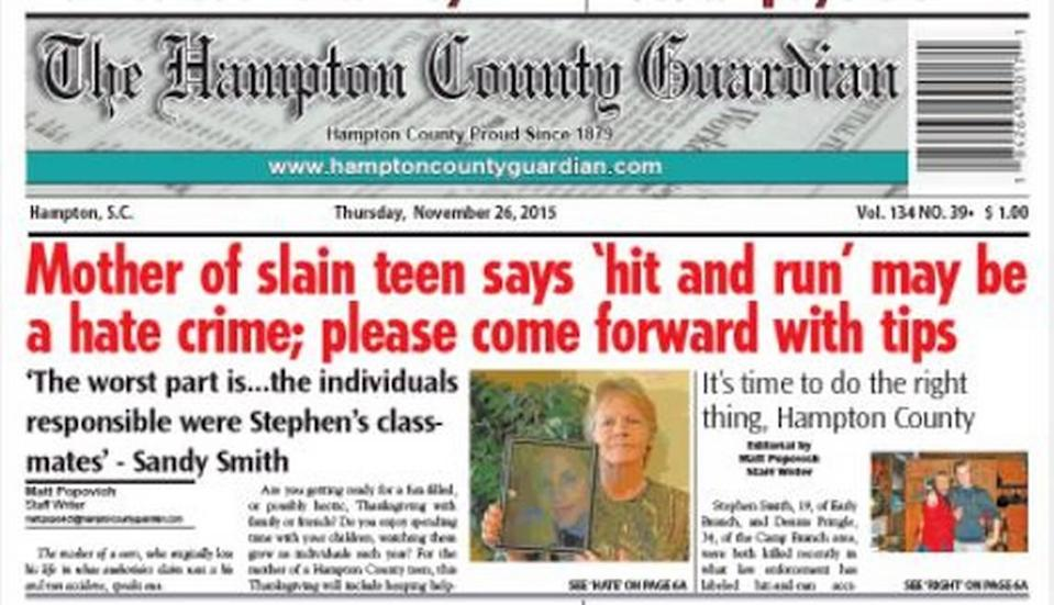 A screenshot of an article in the Hampton County Guardian about Stephen Smith's death in 2015.