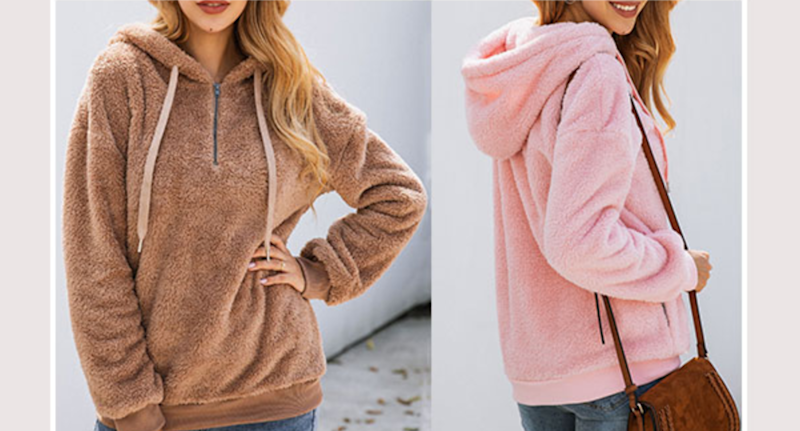 Ecupper Womens Fuzzy Sherpa Hoodie. Image via Amazon.