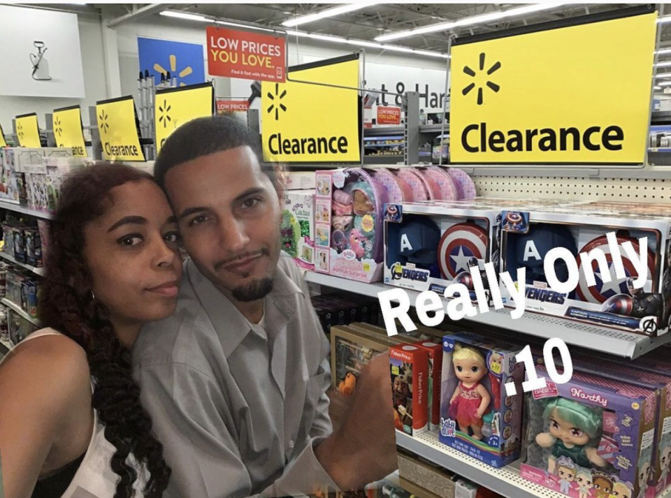 Angel and Manny cruising the toy aisle of Walmart for unreal deals. (Photo: Courtesy of Istagram.com/AngelOnTheGo0430)