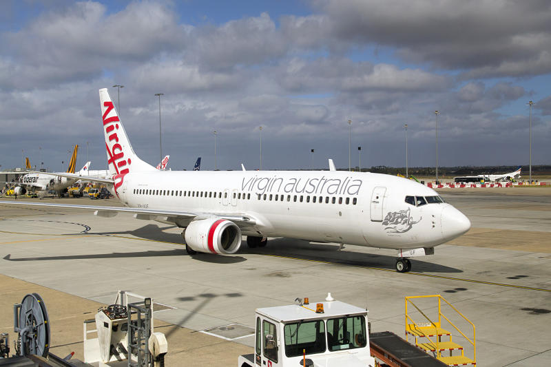 Melbourne, Australia: March 26, 2018: Virgin Airlines Australia airplane on the runway at Tullamarine Airport in Melbourne. Virgin Australia Airlines is Australia's second-largest airline after Qantas.
