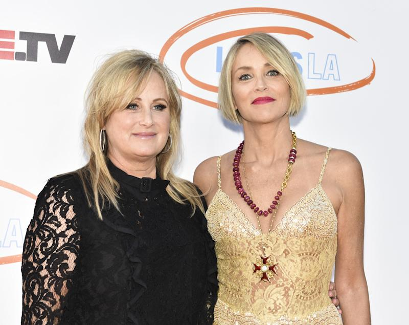 Sharon Stone (L) and philanthropist Kelly Stone attend Lupus LA's 2017 Orange Ball: Rocket To A Cure at California Science Center on April 22, 2017 in Los Angeles, California. (Photo by Rodin Eckenroth/WireImage)