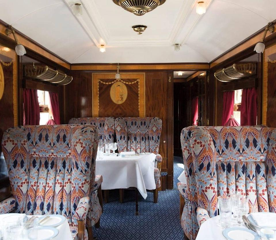 "<p>For a great train journey as refined as they get, the Belmond British Pullman offers a luxury ride through beautiful countryside. It travels year-round to various destinations, including Kent, Winchester, York and the Cotswolds. </p><p>The restored 1920s train has carried guests, from royals to Hollywood stars, and features heritage upholstery, decadent on-board dining and antique-style marquetry. </p><p><strong>You can ride the British Pullman with Good Housekeeping on our exclusive day trip to Althorp, where you will meet Earl Charles Spencer, from £620 per person.</strong> </p><p><a class=""link rapid-noclick-resp"" href=""https://www.goodhousekeepingholidays.com/tours/althorp-northamptonshire-belmond-british-pullman-train-earl-spencer-tour"" rel=""nofollow noopener"" target=""_blank"" data-ylk=""slk:FIND OUT MORE"">FIND OUT MORE</a></p>"