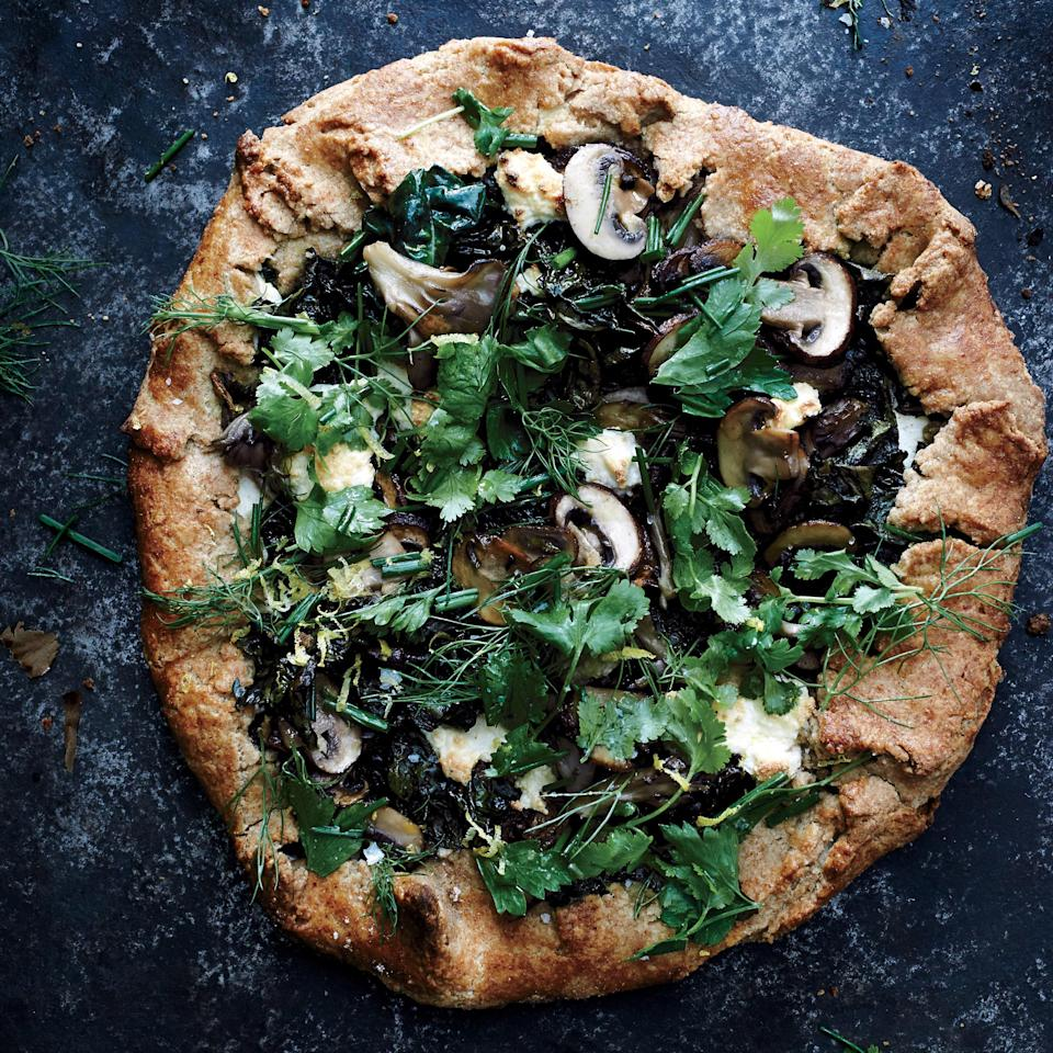 """It's pie for dinner! This veggie version is still plenty hearty thanks to a hefty amount of maitake mushrooms. <a href=""""https://www.epicurious.com/recipes/food/views/swiss-chard-and-mushroom-galette-51231660?mbid=synd_yahoo_rss"""" rel=""""nofollow noopener"""" target=""""_blank"""" data-ylk=""""slk:See recipe."""" class=""""link rapid-noclick-resp"""">See recipe.</a>"""