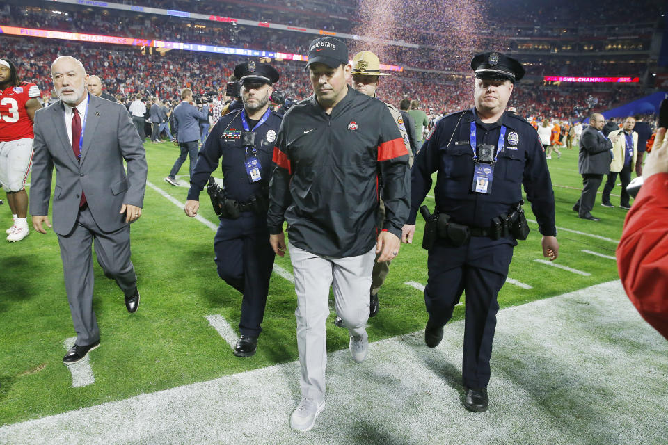 Ohio State's Ryan Day walks off the field after his team's loss to the Clemson Tigers in the College Football Playoff semifinal in Glendale, Arizona. (Ralph Freso/Getty Images)