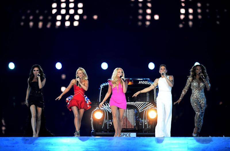 The Spice Girls Victoria Beckham, Geri Halliwell, Emma Bunton, Melanie Chisholm, Melanie Brown perform during the Olympic Games Closing Ceremony at the Olympic Stadium, London.