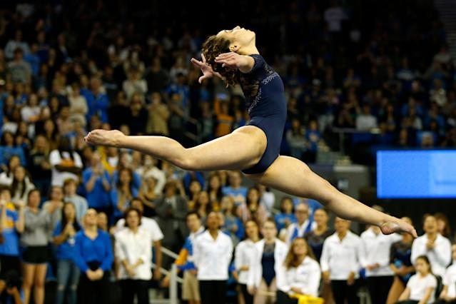 UCLA's Katelyn Ohashi competes in floor exercise during a PAC-12 meet at Pauley Pavilion on January 21, 2019 in Los Angeles. (Getty Images)