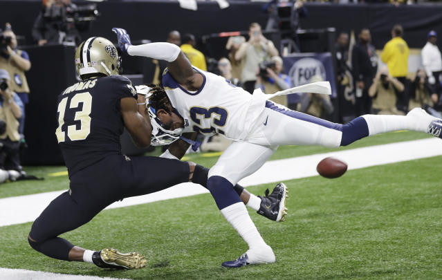 Saints fans are never going to forget this call. (AP Photo/Gerald Herbert)