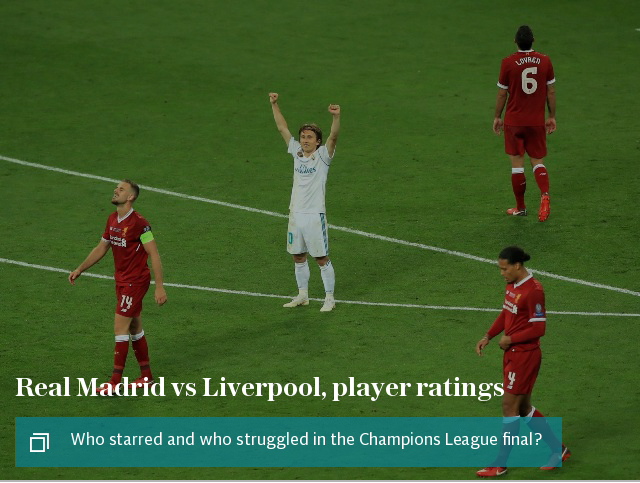 Real Madrid vs Liverpool, player ratings