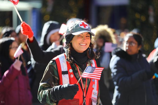 <p>A member of the Red Cross marches up Fifth Avenue during the Veterans Day parade in New York on Nov. 11, 2017. (Photo: Gordon Donovan/Yahoo News) </p>