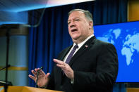 Secretary of State Mike Pompeo speaks during a news conference at the State Department, Wednesday, Oct. 14, 2020, in Washington. (AP Photo/Manuel Balce Ceneta, POOL)