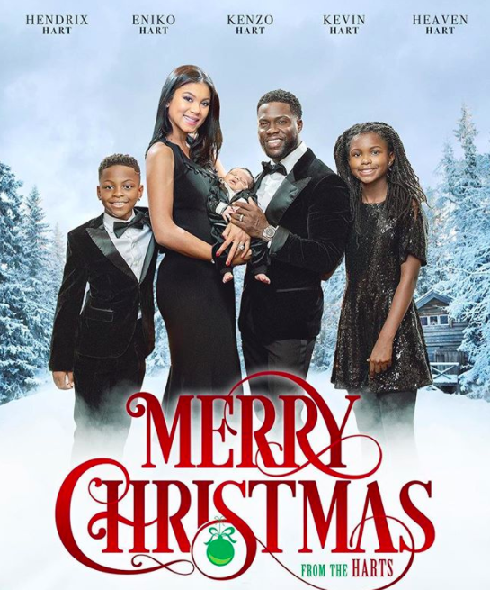 """Everything the pint-sized entertainer does is an event, and his holiday card is no exception. The cool-looking movie poster-like card also features the actor's wife, Eniko, and their new son, Kenzo, who was <a href=""""https://www.yahoo.com/entertainment/kevin-hart-eniko-parrish-welcome-114055736.html"""" rel=""""nofollow"""" data-ylk=""""slk:born, like, five minutes ago;outcm:mb_qualified_link;_E:mb_qualified_link;ct:story;"""" class=""""link rapid-noclick-resp yahoo-link"""">born, like, five minutes ago</a>, as well as his kids from his first marriage, Hendrix and Heaven. (Photo: <a href=""""https://www.instagram.com/p/Bcu2KyUDpLl/?hl=en&taken-by=kevinhart4real"""" rel=""""nofollow noopener"""" target=""""_blank"""" data-ylk=""""slk:Kevin Hart via Instagram"""" class=""""link rapid-noclick-resp"""">Kevin Hart via Instagram</a>)"""