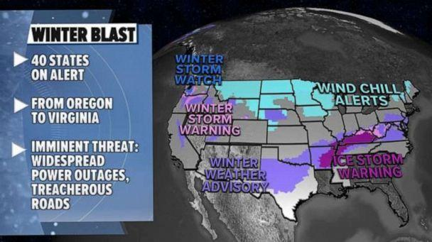 PHOTO: On Thursday, 40 states are on alert from Oregon to Virginia for ice, snow and bitter cold. (ABC News)