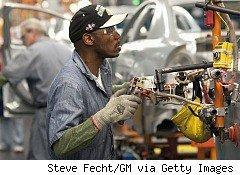 Multiple bloggers have challenged the accuracy of the Bureau of Labor Statistics's claim that 290,000 jobs were added in April. Pictured here, workers at a General Motors plant.