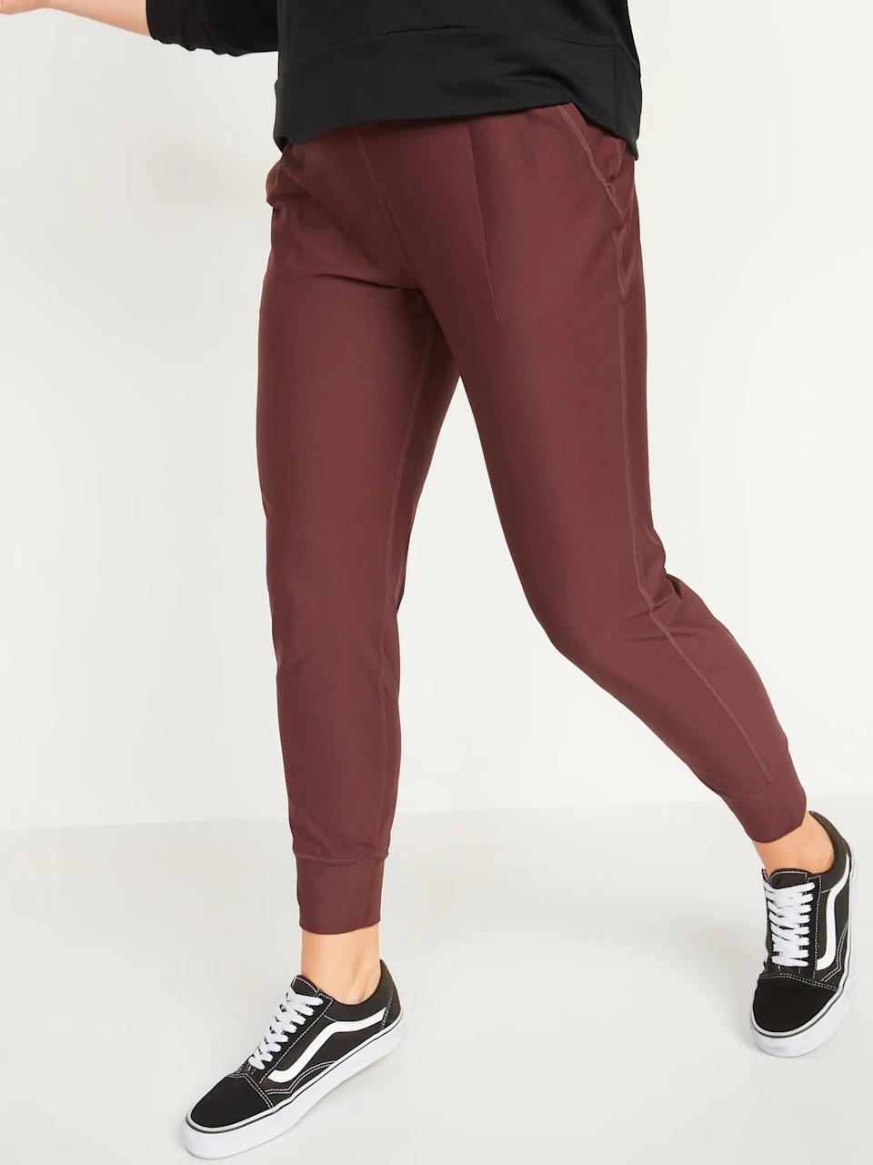<p>All stretchy <span>Old Navy High-Waisted PowerSoft 7/8-Length Joggers</span> ($20-$40, originally $40) are also rather breathable so, choose these if heavy fabric makes you sweat.</p>