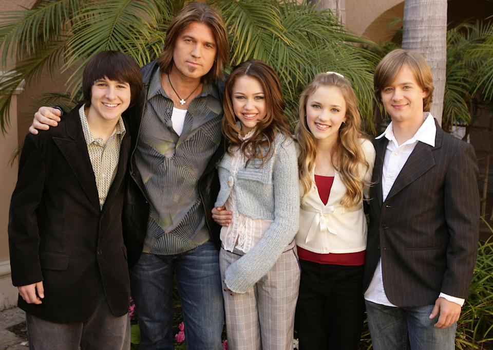 Mitchel Musso, Billy Ray Cyrus, Miley Cyrus, Emily Osment and Jason Earles (Photo by Jesse Grant/WireImage)