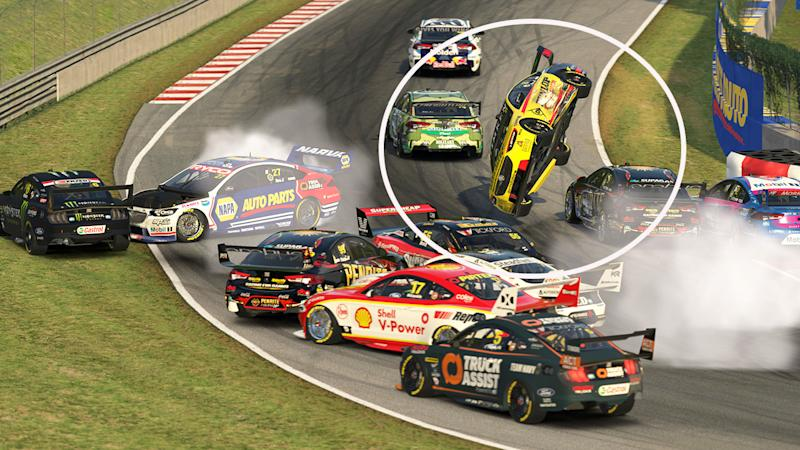 Nick Percat, pictured here flipping and crashing in the Supercars Eseries.