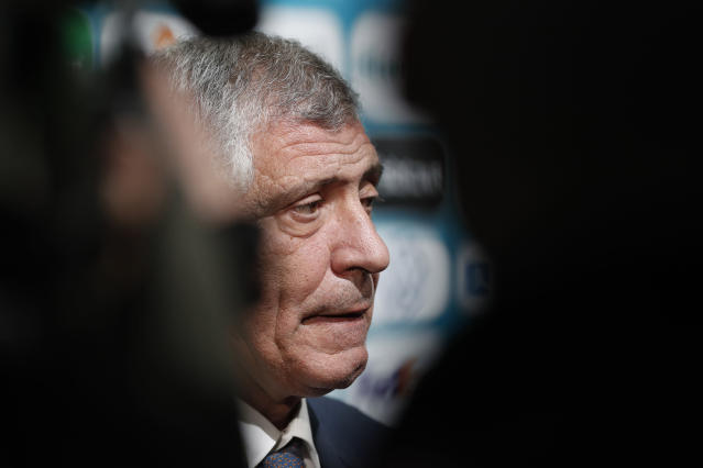 Portugal coach Fernando Santos talks to journalists after the draw for the UEFA Euro 2020 soccer tournament finals in Bucharest, Romania, Saturday, Nov. 30, 2019. (AP Photo/Petr David Josek)