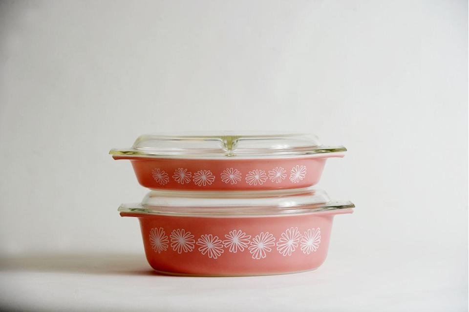 """<p>For many of us, Pyrex patterned glassware brings back memories of our moms and grandmothers cooking in their kitchens. If you can bear to part with yours, you could get a few thousand dollars for the most <a href=""""https://www.countryliving.com/shopping/antiques/news/a44110/vintage-pyrex-value/"""" rel=""""nofollow noopener"""" target=""""_blank"""" data-ylk=""""slk:valuable pieces."""" class=""""link rapid-noclick-resp"""">valuable pieces.</a></p>"""