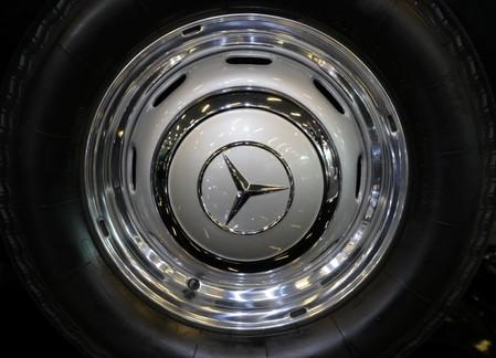 The logo of Mercedes carmaker is seen on wheel at the Top Marques fair in Monaco