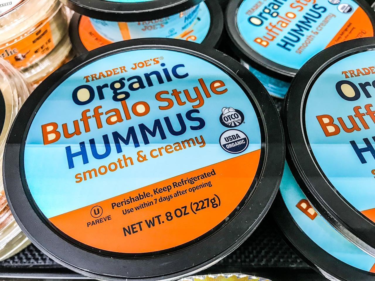 <p>Holy moly, this hummus needs to be in our snack lineups, like, yesterday. Trader Joe's, we thank you.</p>