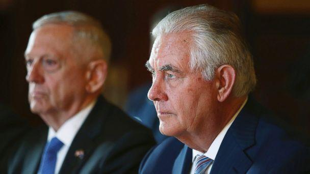 In this June 5, 2017, file photo, U.S. Secretary of State Rex Tillerson, right, and U.S. Secretary of Defense Jim Mattis participate in talks at Government House in Sydney. (AP)