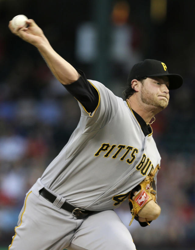 Pittsburgh Pirates starting pitcher Gerrit Cole works against the Texas Rangers in the first inning of a baseball game, Monday, Sept. 9, 2013, in Arlington, Texas. (AP Photo/Tony Gutierrez)
