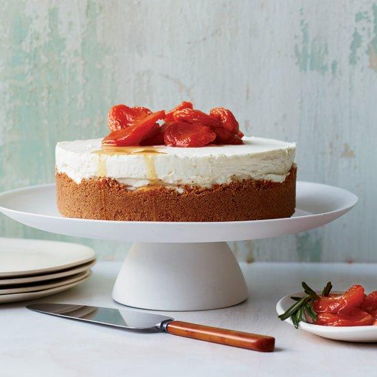 """<p>This killer cheesecake has an ethereally light, creamy texture and fantastic crunchy crust made from honey graham crackers and amaretti cookies.</p><p><a href=""""https://www.foodandwine.com/recipes/triple-cheese-cheesecake-with-amaretti-crust"""">GO TO RECIPE</a></p>"""