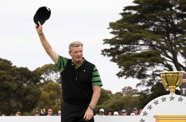 Ernie Els will not return as team captain for the International Team at the 2021 Presidents Cup. (AP/Andy Brownbill)