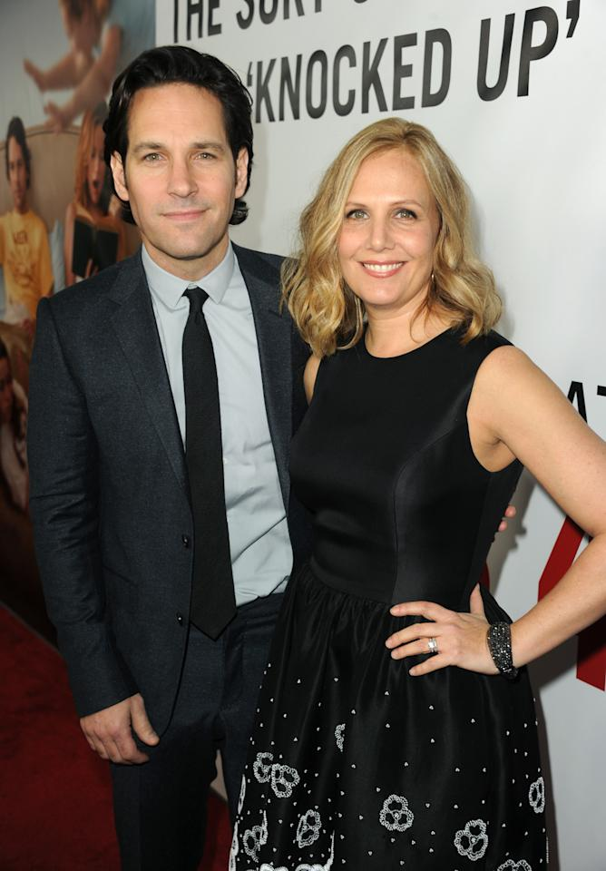 "HOLLYWOOD, CA - DECEMBER 12:  Actor Paul Rudd and wife Julie Yaeger attend the premiere of Universal Pictures' ""This Is 40"" at Grauman's Chinese Theatre on December 12, 2012 in Hollywood, California.  (Photo by Kevin Winter/Getty Images)"