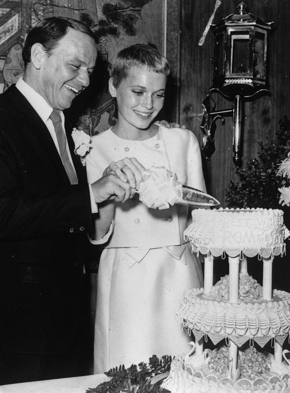 <p>Farrow and Sinatra wed at the Sands Hotel in Las Vegas only a few days later, with the bride opting for a white two-piece suit. </p>