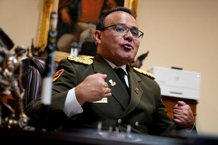 FILE PHOTO: Venezuelan Colonel Jose Luis Silva, Venezuela's Military Attache at its Washington embassy to the United States, is interviewed by Reuters after announcing that he is defecting from the government of President Nicolas Maduro in Washington, U.S., January 26, 2019. REUTERS/Joshua Roberts/File Photo