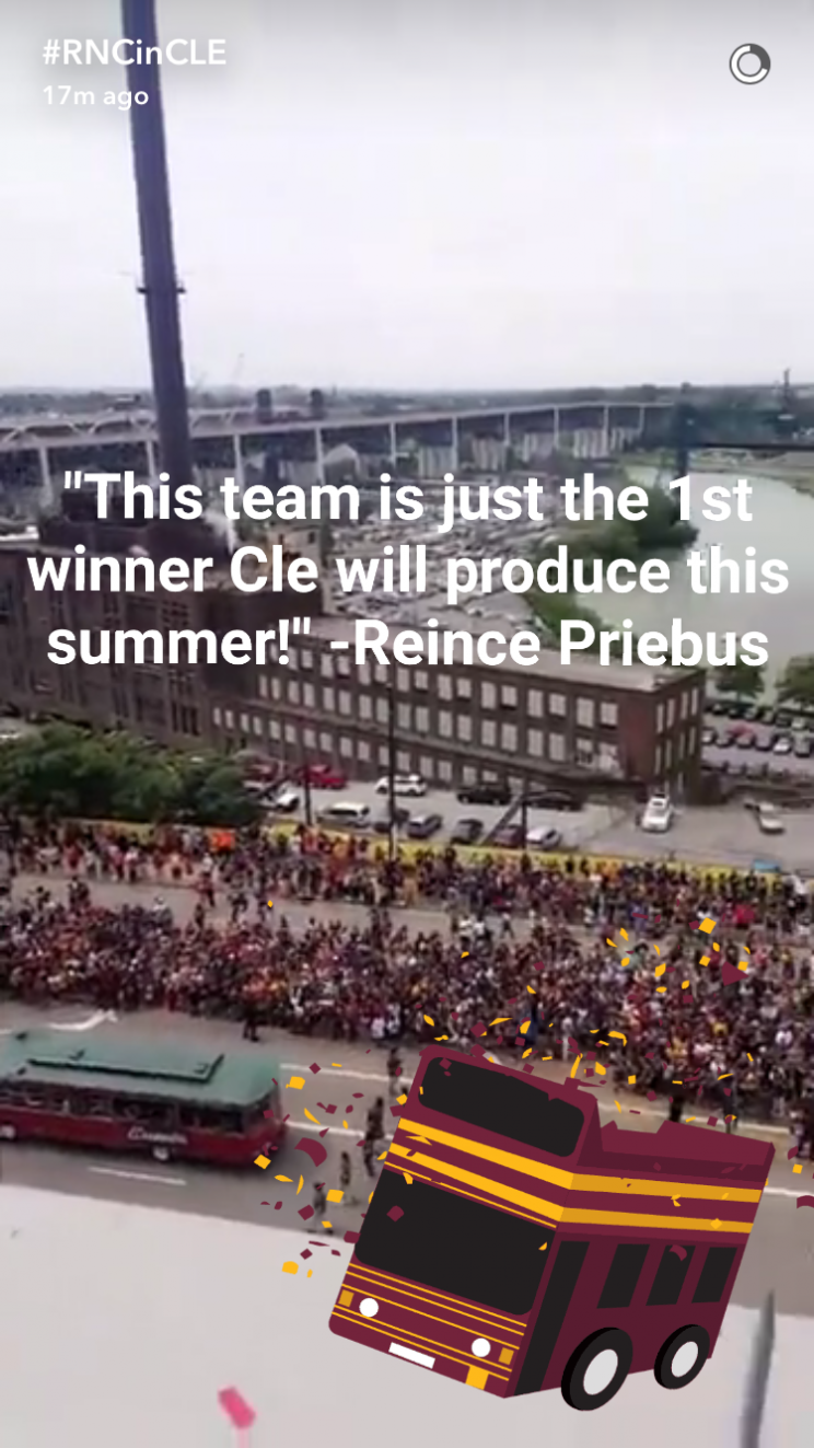 The Republican National Convention launched its official Snapchat account with a video from the Cleveland Cavaliers NBA championship parade on June 22, 2016. (Screenshot via GOPConvention16 on Snapchat)