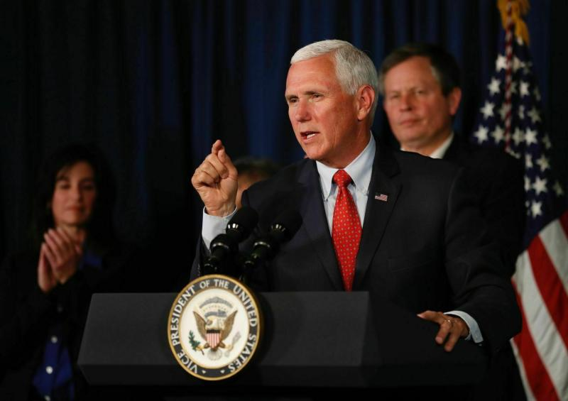 Vice President Mike Pence speaks during an event at RiverStone Health Lil Anderson Center in Billings, Mont. Wednesday, June 12, 2019. (Casey Page/Billings Gazette via AP)