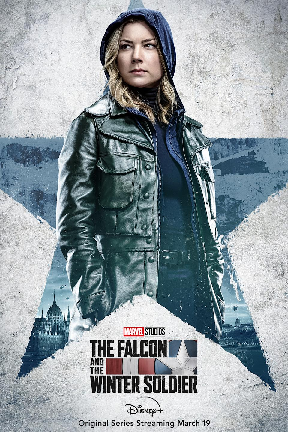 Emily VanCamp as Sharon Carter in character posters for Marvel Studios' Disney+ series, The Falcon And The Winter Soldier.
