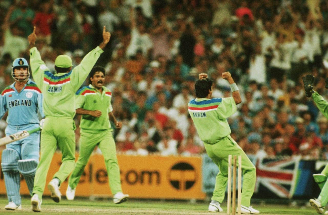 Wasim Akram celebrates the wicket of Lamb during the final of the Cricket World Cup, 1992. (Photo by Adrian Murrell/Getty Images)